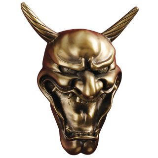 Kagura Noh Theatrical Hannya Jealous Female Demon Wall Mask Sculpture