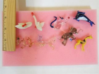 11 Miniature Glass Figures Figurines Whale Unicorn Duck Geese Mice