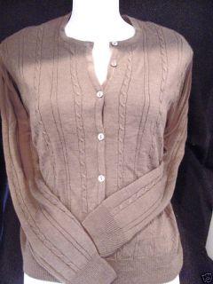 Womens Jeanne Pierre Brown Cardigan Sweater Small