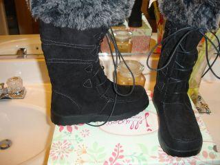 JELLYPOP Vallejo Blk Grey Suedelike Boot Nice 6 5 $89 Styllish