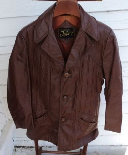 Vtg Jeffery Leathers Coat Jacket Brown Genuine Leather Sz 40