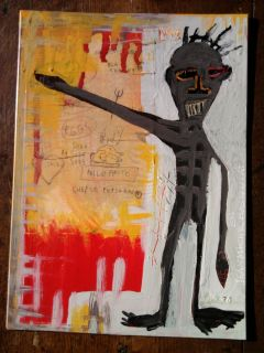 Jean Michel Basquiat Drawing on Paperboard Painting