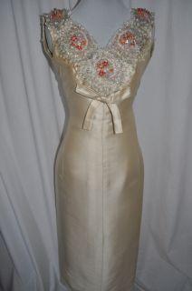 JEANNE LANVIN Vintage 1940s Silk Beaded Wedding Gown Maxi Dress Museum
