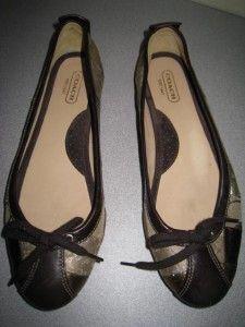 Coach Jenilee Multi Color Browns Golds Silvers Patchwork Ballet Flats