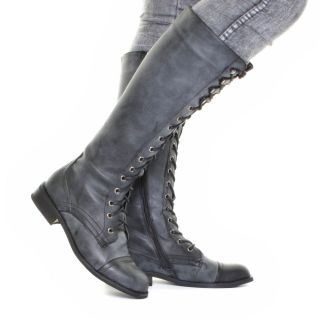 Womens Grey Distressed Knee High Military Ladies Lace Up Army Boots