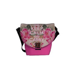 Girly keep calmVintage pink elegant floral roses Messenger Bag