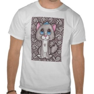 Gray and White Kitty Tee Shirt