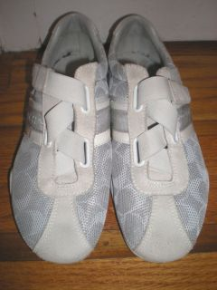 Coach Jenney Womens White Signature Sneakers Tennis Shoes Size 7 M