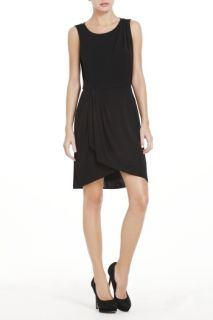 BCBG Black Jersey Jessalyn Draped Lace Back Cocktail Dress LMR6O091$
