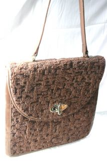 Jerry Terrence Genuine Carpet Bag Purse Handbag Brown