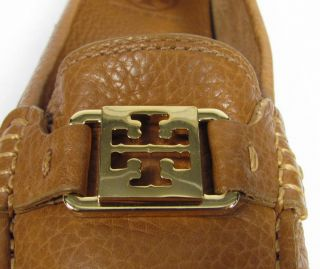 Tory Burch Kendrick Driver 9M Light Brown PEBBLED Leather Loafer Flats