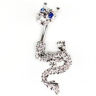 Sparkly Crystal Chinese Dragon Navel Body Jewelry Belly Ring