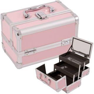 Pink Jewelry Box Makeup Train Case Cosmetic Organizer w Mirror 3 trays