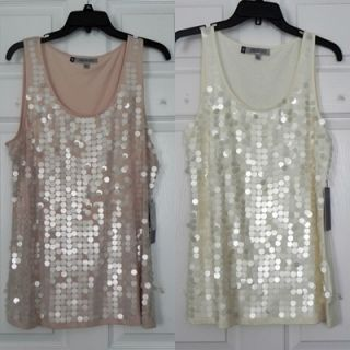 Womens Jennifer Lopez Pink or Ivory Sleeveless Sequin Front Tank Tops
