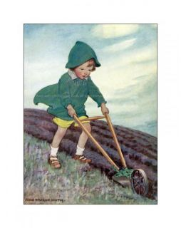 Boy Plows Garden Greeting Card Repro Jessie Willcox Smith