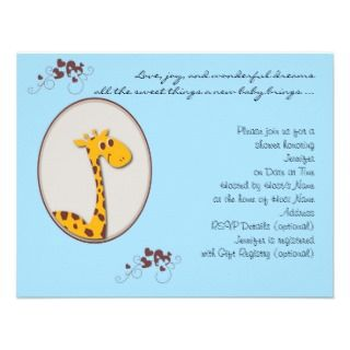 Blue and Brown Giraffe Baby Shower Invitation