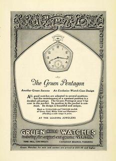 Antique Gruen Guild Pentagon Style Pocket Watches Jewelry Accessories