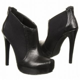 New Jessica Simpson JS Livia Black Leather Bootie Ankle Boots Back Zip