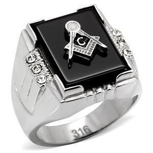 Mason Masonic Clear CZ Black Onyx Mens Ring Jewelry Size 12