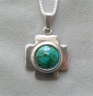 Jerusalem Cross Eilat Stone Pendant Necklace Israel