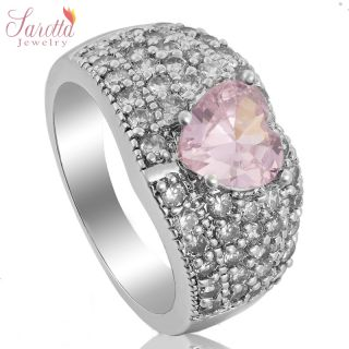CLEARANCE JEWELRY PINK SAPPHIRE WHITE GOLD GP COCKTAIL GEM RING SIZE 6