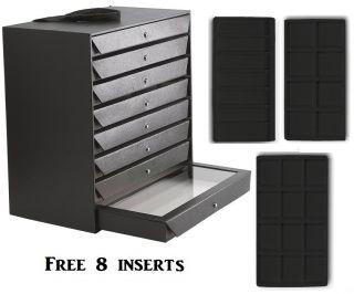 New Jewelry Storage Organizer Case Black Cabinet w Inserts Carry Case