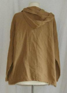 Eileen Fisher Brown Open 100 Linen Jacket Shirt PL Petite Large
