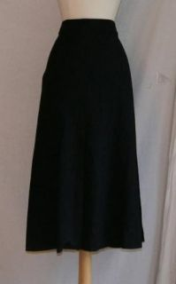 Eileen Fisher Black Wool Stretch Skirt Large L