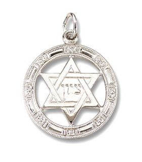 Solid Sterling Silver Jewish Star of David Charm with Center Shalom