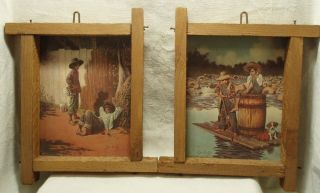 Vintage Set of 2 Jim Daly Rustic Framed Prints Tom Sawyer Huck Finn