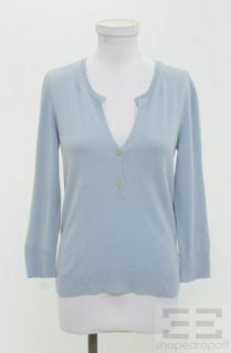 Jil Sander Light Blue Cashmere Henley Sweater Size 38