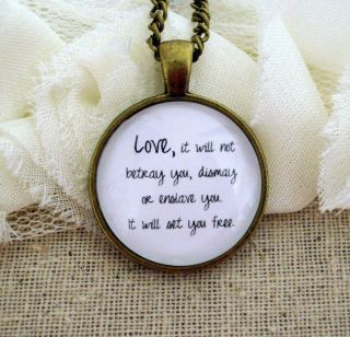Mumford and Sons Inspired Lyrical Quote Necklace Love It Will not