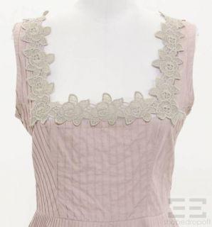 Jill Stuart Pink Cotton Lace Pintucked Sleeveless Dress Size 6