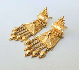 Vintage Antique Solid 22 Carat Gold Stud Earring Pair Tamil Nadu South