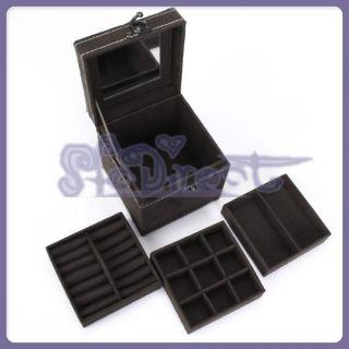 Ring Watch Jewelry Box Storage Case w Mirror Vintage