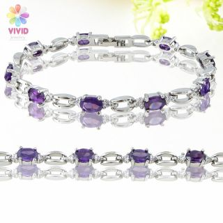 Fashion Jewelry Lady Gift Purple Amethyst Gold GP Tennis Bracelet