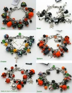 Halloween Spiders Web Charm Glass Bead Bracelet Jewelry