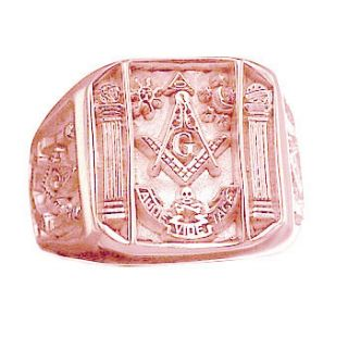 Solid Rose Gold Vermeil Free Mason Masonic Ring Jewelry
