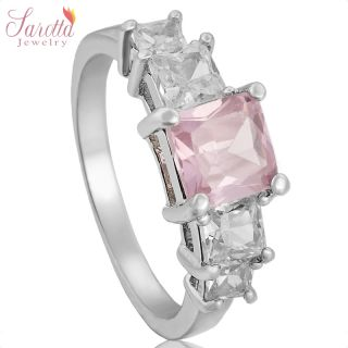 CLEARANCE JEWELRY PINK SAPPHIRE 18K WHITE GOLD PLATED GP RING SIZE 7 O