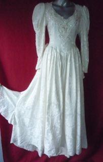 Jessica McClintock Ivory Lace Renaissance Long Formal Wedding Gown 8