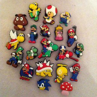Shoe Charms Fit Crocs Jibbitz Lot Set of 20 Super Mario Bros