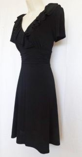 New Jessica Howard Ruffle Neck Ruched Waist Jersey Career Black Dress