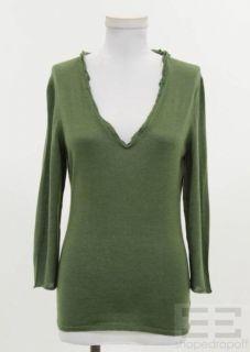 Jil Sander Green Cashmere Silk V Neck Sweater Size 38