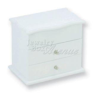 White Wooden Girls Children Jewelry Box Case Organizer Storage Mirror