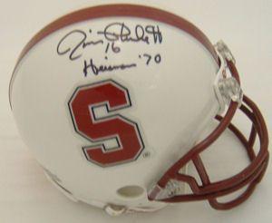 Jim Plunkett Autographed Signed Stanford Mini Helmet w Heisman Insc