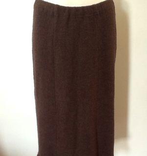 JILL Brown Merino Wool Boucle Knit Skirt Fitted A Line Ruffle Hem