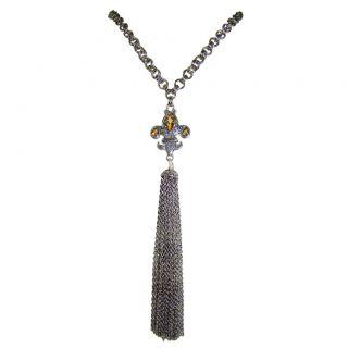 Silver Gold Citrine Fleur de Lis Tassel Necklace Pendan