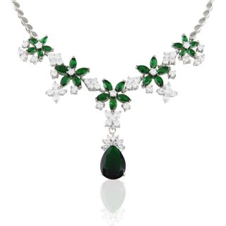 EMERALD GOLD P PENDANT NECKLACE CHAIN WOMEN DRESS VINTAGE JEWELRY