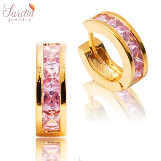 FASHION JEWELRY PINK SAPPHIRE YELLOW GOLD PLATED GP EARINGS HOOP RING