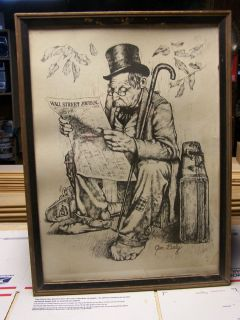 Print Man in Rags Reading Wall Street Journal by Jim Daly